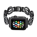 VintgaGood Apple Watch Bands, Bling Diamond Loop Replacement Strap for iWatch Series 1 2 3 Sport Edition Nike+ Hermes, shuanghuan bk 38mm