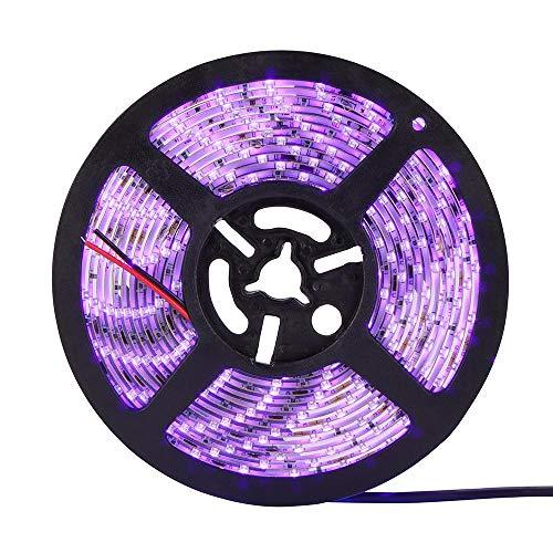 LED UV Schwarzlicht Streifen Kit 5m / 16.4ft 12V Flexible Schwarzlicht Leuchten mit 60 Stück UV Lampe Perlen 30W IP20 Wasserdicht für Indoor Party Stage -