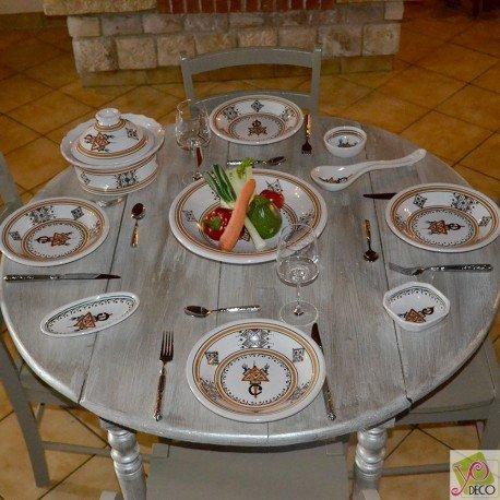 Service à couscous assiettes creuses Sahel beige - 12 pers