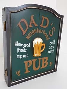 """point-home armoire à jeu de fléchettes, jeu de fléchettes, cible pour jeu de fléchettes, style rétro """"Dad's Pub"""""""