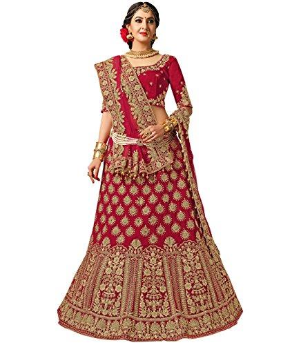 Indian Ethnicwear Bollywood Pakistani Wedding Maroon A-line Lehenga Semi-stitched