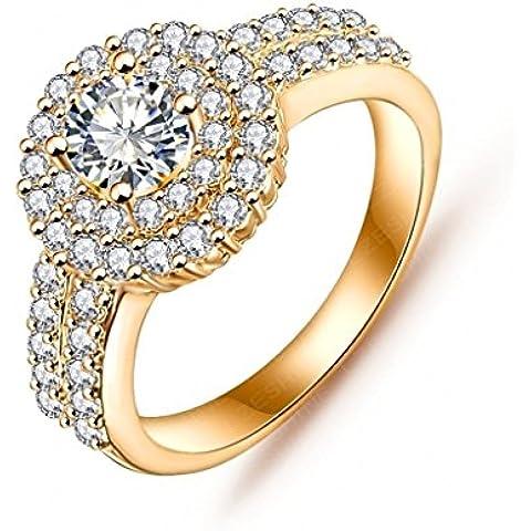 Alimab Gioielli signore anelli Donne anelli anelli di fidanzamento in oro oro placcato rotondo