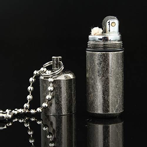 BSGP 1 Stück Kapsel-Feuerzeug, nachfüllbares Öl-Feuerzeug, Notfallausrüstung, Feuerstelle, wasserdicht, Überlebens-Feuerzeug, Erdnuss-Feuerzeug, Camping-Taschenwerkzeug mit Schlüsselanhänger (Zippo-feuerzeug überleben)