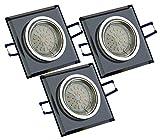 3er Set TG6736S-03B Edle LUXUS Design Einbaustrahler aus schwarzem Glas ECKIG & Alu inkl. 3 Watt GU10 LM LED & GU10 Anschlußkasten direkt 230V