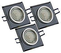Spot avec 3 x carré handgeschliffenes (verre) et aluminium avec 3 ampoules 3 w 220Lumen ampoule lED gU10 avec boîtier de raccordement - 3 x gU10 + 3 + 6 x ampoules -federhalterungen deckenhalterungsfedern ce spot lED encastrable est d'environ 20°-mat...