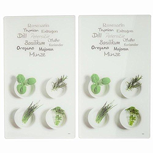Kesper 36531 Herbes Multi-Planche à Découper Verre Multicolore 52 x 30 x 0,8 cm