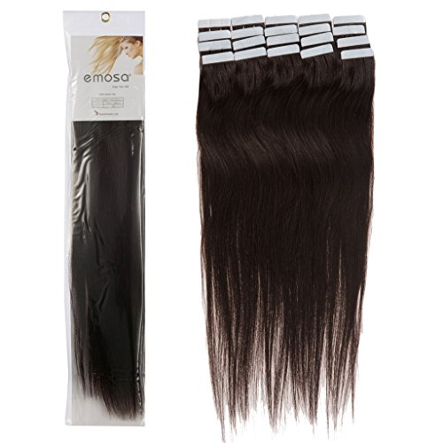 18 inch Emosa Remy Stright PU Tape Skin Seamless Human Hair Extensions #02 Dark Brown 100g