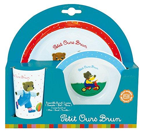 FUN HOUSE 005444 Petit Ours Brun Ensemble Repas Contenant 1 Assiette, 1 Bol et 1 Verre pour Enfant Polypropylène Blanc 26.5x8.5x24.5 cm