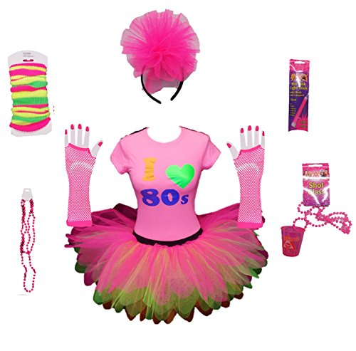 * NEW * I Love The 80s Pink Party Costume Set. Sizes up to 2XL