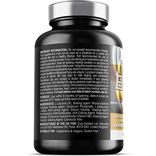51eGgsgAGEL. SS500  - BCAA Tablets - 2400mg BCAAs x 1 month supply (30 daily servings) - High Strength in B6 to help reduce Fatigue - UK Made - Vegetarian & Vegan Tablets