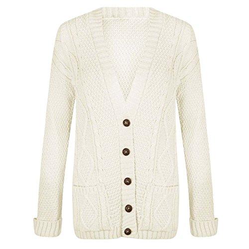 Trends Fashions - Gilet - Manches Longues - Femme * Taille Unique Crème