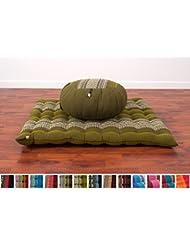 Meditationsset Meditationskissen Zafu Meditationsmatte Zabuton, 76x72x25 cm, Kapok, Grün