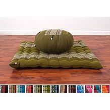 Set de Meditación Cojín Zafu, Colchoneta Zabuton , 76x72x25 cm, Capok, Verde