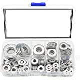 DIY Crafts 260Pcs 8 Sizes Stainless Steel Flat Washers, M2 M2.5 M3 M4 M5 M6 M8 M10 Hardware Gasket Assortment Kit