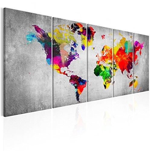 decomonkey | Bilder Weltkarte 225x90 cm 5 Teilig | Leinwandbilder | Vlies Leinwand | Wandbilder | Wand | Bild | Wandbild | Kunstdruck | Wanddeko modern Aquarell bunt Graffiti DKA0109a5L