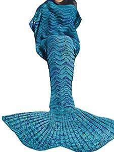 iEFiEL Mädchen Damen Kostüm Meerjungfrau Fischschwanz Decke Schwanz Flosse Handgemachte Schlafsack Blanket Kostüm Häkel Erwachsene Decke (Erwachsene Größe, Azurblau)