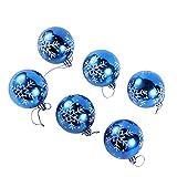 6 Stück Weihnachten Bruchsichere Luxuriös Weihnachtskugeln, Anhänger Weihnachtsbaumschmuck, Glänzend, Blau/Silber, 6Cm(2.4