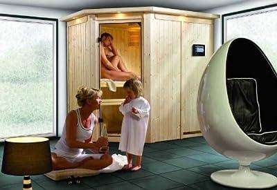 Carin - Karibu Sauna inkl. 9-kW-Ofen - ohne Dachkranz - von Woodfeeling GmbH bei Du und dein Garten