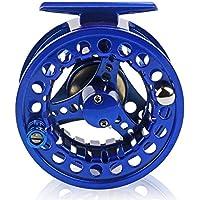 SODIAL 5/6wt Carrete de Pesca con Mosca de Aluminio Carretes de Pesca con Mosca de Mano Izquierda/Derecha CNC de fundicion de Metal Completo Azul