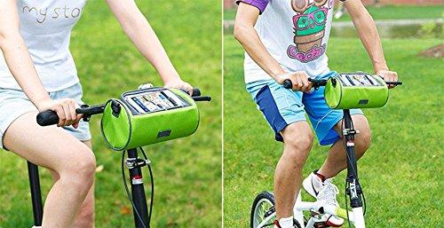 Demarkt Lenkertasche Fahrradtasche Fahrradlenkertasche aus Oxford Tuch 22*12*12CM Hellblau Grün
