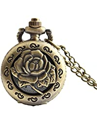Maybesky Reloj de Bolsillo Hueco Tallado Creativo del Vintage de Rose con la Cadena para el Regalo del día de Padre Caja de Regalo para cumpleaños Aniversario día Nav