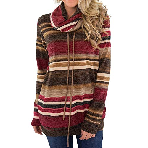 Cowl Neck Stripe (H-ONG Women Cowl Neck Jumper Stripes Sweatshirt Hoodies Long Sleeve Casual Tunic Shirt Multicolor Cowl Neck Sweatshirt Pullover Sweater Top M L XL 2XL (Red))