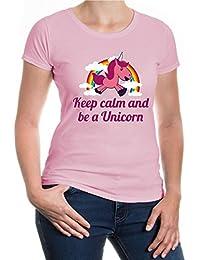 buxsbaum® Mujer – Camiseta para mujer «Keep calm and be a unicorn» | Regalo para amantes de criaturas míticas…