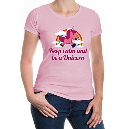 Damen T-Shirt Keep calm and be a unicorn | Geschenk für Fantasie Liebhaber Fabelwesen | M lightpink-z-direct Rosa