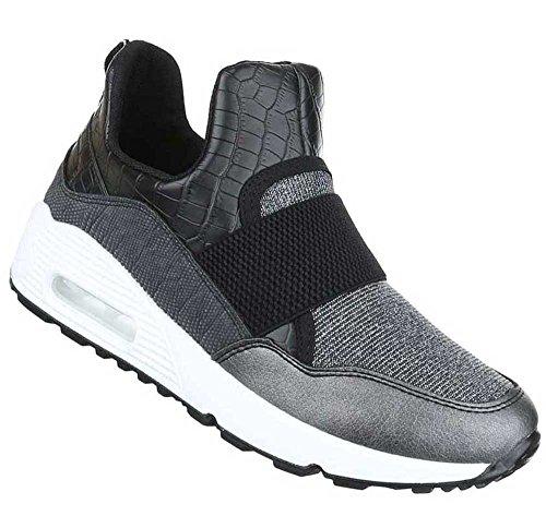 Damen Sneakers Schuhe Freizeitschuhe Schwarz Silber