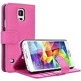EnGive Samsung Galaxy S5 Hülle Ledertasche Schutzhülle Case Tasche mit Standfunktion und Karte Halter (Rosa)