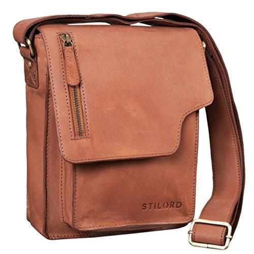 STILORD 'Pete' Umhängetasche Leder klein Männer Schultertasche Vintage Messenger Bag Herren 8,4 Zoll Tablettasche echtes Leder, Farbe:Sattel - braun -
