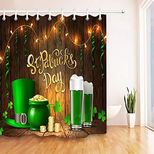 Yinyinchao Badezimmerdekoration,3D-Hd-Druck Verblasst Nicht,St. Patricks Day Green Hat Clover Beer,Duschvorhang Aus Wasserdichtem Polyestergewebe,12 Duschhaken,180X180 cm,Wohnaccessoires - Day Green Hat