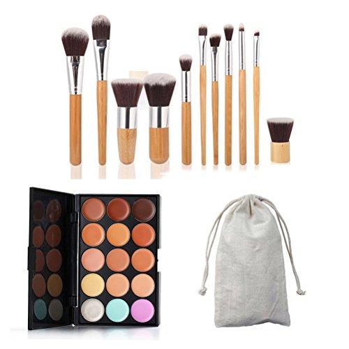 Palette de correcteur de maquillage de crème de visage de 15 couleurs avec 11 pinceaux en bambou