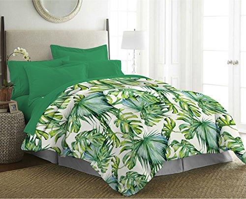 Cottonhouse trapuntino copriletto boutis primaverile in morbida microfibra letizia matrimoniale 250x250 cm - disegno foglie tropicali tropic (matrimoniale)