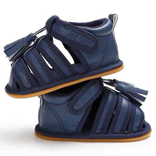 Clode® Kleinkind Sommer Mädchen Jungen Krippe Troddel Schuhe Weiche alleinige Neugeborene Anti-Rutsch Turnschuh Blau