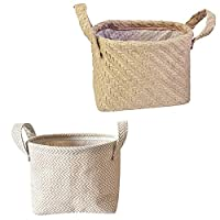 ‏‪Cabilock 2pcs Woven Storage Basket Rustic Natural Jute Planter Laundry Toy Basket Towels Blanket Container Organizer With Handles For Home Decor‬‏
