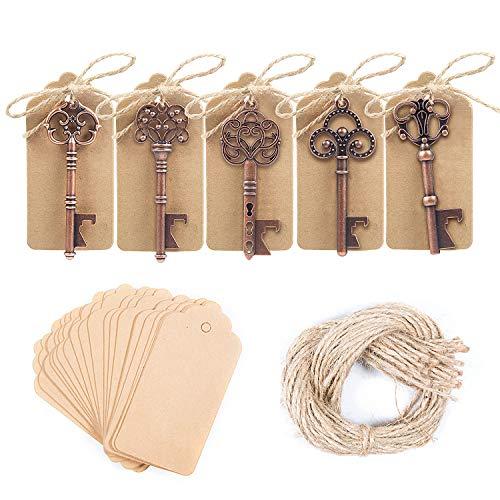 ZOEON 50 Stück Vintage Schlüssel-Flaschenöffner mit Geschenk-Tag, Hochzeit Partyzubehör, 5
