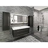 Hochwertiges Badmöbelset Anthrazit Seidenglanz mit Doppel-Waschbecken mit 1x Ablauf, Teilweise vormontiert