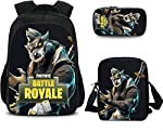 Three-piece Fortnite SEASON 6 Anime Student Pencil Bag Backpack Elementary School Bag / 40cm