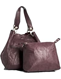 Big Handbag Shop Two In One Womens Bucket Style Large Shoulder Tote Bag (Maroon)