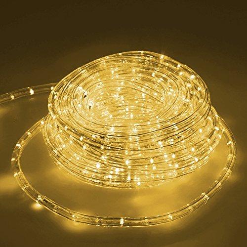 ECD Germany 20m LED Lichterschlauch Warmweiß 220-240V AC Stromverbrauch ca. 1.2W pro Meter 10.5 mm Durchmesser IP44 Schutzklasse 360° Ausstrahlungswinkel 36 LED Lampen/Meter nicht Dimmbar