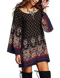 LILICAT Damen Böhmen Sommer Chic Kleid 3 4 Ärmel Geometrisch Vintage  Drucken Blumen Strandkleid Frauen Bekleidung Kleid Lose… 4ec141cf61