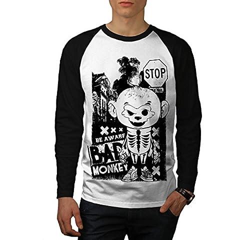 Sein Bewusst Schlecht Affe Chaos Herren NEU Weiß (Schwarz Ärmel) L Baseball lange Ärmel T-Shirt | Wellcoda
