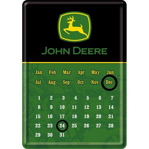 John Deere Magnet (Nostalgic-Art 16625 John Deere Logo Black and Green, Tischkalender mit Magnetringen, 10x14 cm)