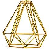 Jaula Lámpara de Techo Luz Bulbo Colgante de Loft Diamante de Imitación Metal Vendimia Decoración Hogar - Dorado