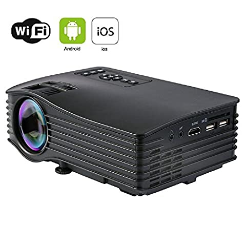 WiFi Video Projector, HuiHeng Portable Mini LED Projector Home Theater