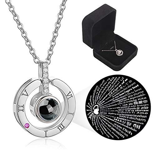 StillCool Love Memory Halskette, 100 Sprachen Ich Liebe Dich Schlüsselbein Halskette Projektion Anhänger (Silber)