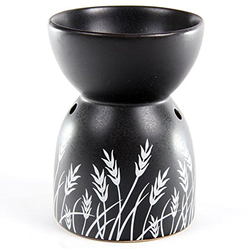 Ceramic-Oil-Burner-Grass-Design-Black
