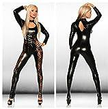 JOPLEC Damen Latex Sexy Catsuit Hollow Out Spitze Bodysuit Cat Suit Night Dress Pole Dance Kleidung