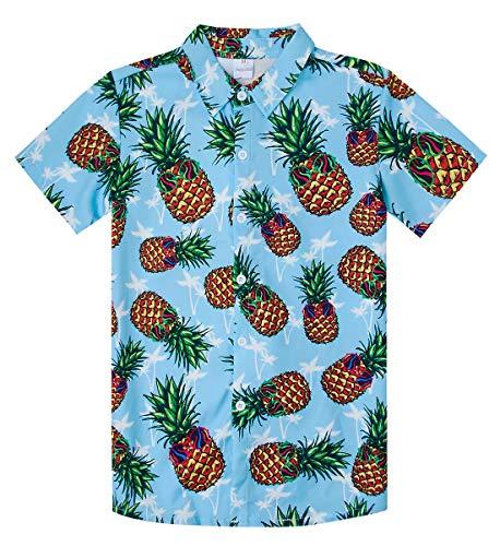 NEWISTAR Kinder Hemd Kurzarm 3D Gedruckt Kurzarm Ananas Freizeithemd Knopf Hemden Shirts
